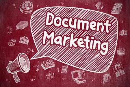 Document Marketing - Cartoon Illustration on Red Chalkboard.