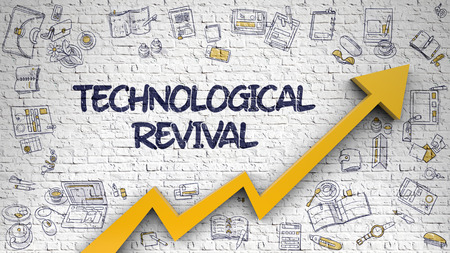 Technological Revival Drawn on White Wall.
