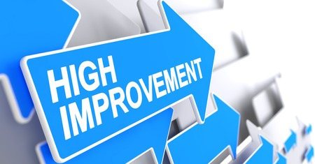 High Improvement - Label on the Blue Arrow. 3D.