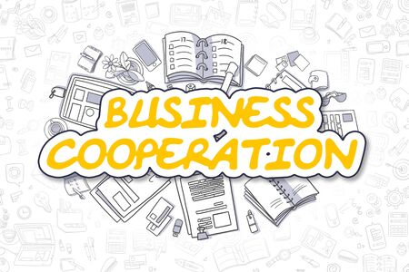 Business Cooperation - Doodle Yellow Text. Business Concept. Stock Photo