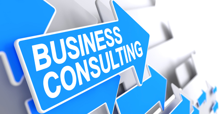Business Consulting - Text on the Blue Pointer. 3D.