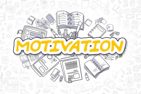 Motivation - Cartoon Yellow Word. Business Concept. Stock Photo