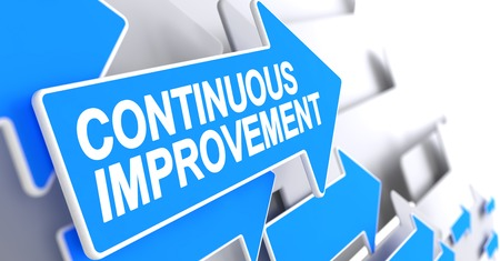 Continuous Improvement - Message on the Blue Pointer. 3D. Stock Photo