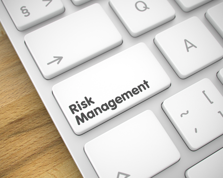 Risk Management - Text on White Keyboard Button. 3D. Stock Photo