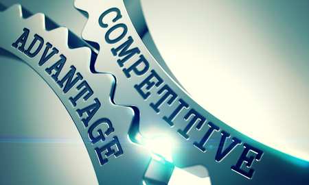 Competitive Advantage - Mechanism of Shiny Metal Cog Gears. 3D.