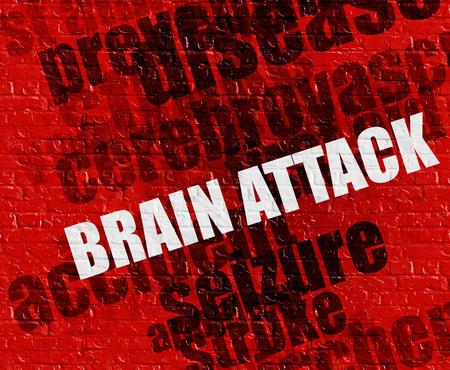 Medicine concept: Brain Attack on Red Brickwall .