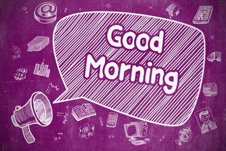 Good Morning - Doodle Illustration on Purple Chalkboard. Stock Photo