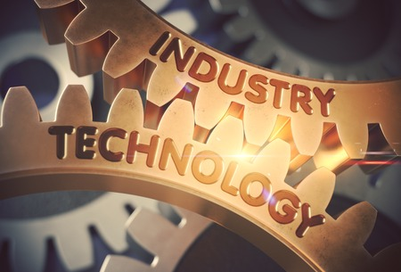 Industry Technology on the Golden Gears. 3D Illustration. Stock Photo