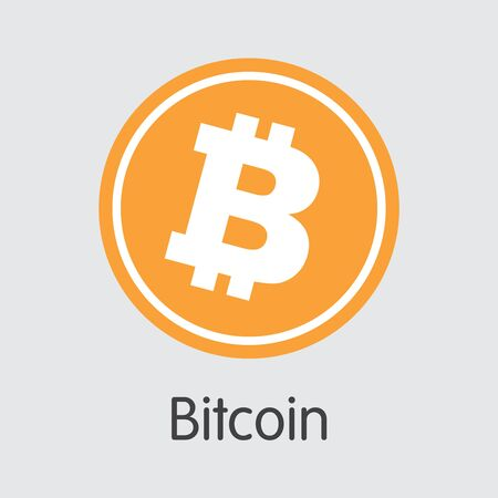 Bitcoin - 회색 배경의 Criptocurrency Blockchain 아이콘. 가상 통화. 벡터 거래 기호 : Bitcoin입니다.