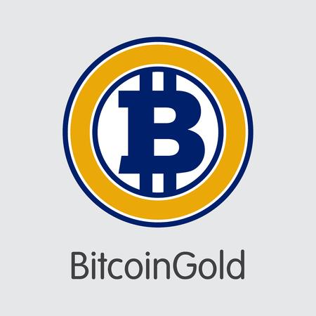 BitcoinGold : 회색 배경의 Cryptocurrency Blockchain 아이콘. 가상 통화. 벡터 거래 기호 -BTG입니다. 일러스트