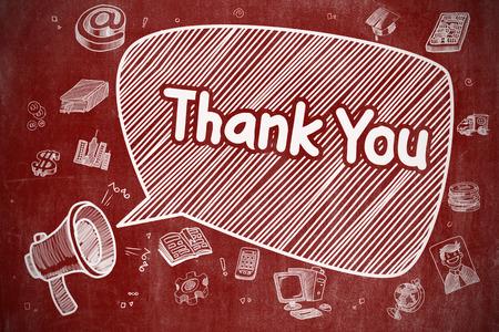 Thank You - Doodle Illustration on Red Chalkboard.