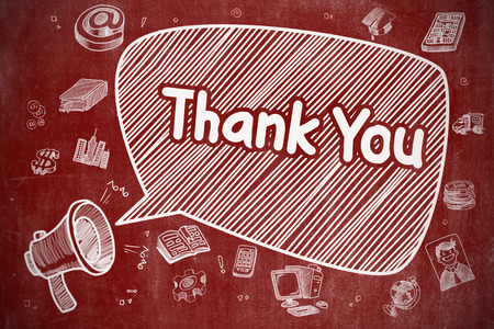 Thank You - Doodle Illustration on Red Chalkboard.