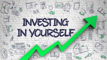 Investing In Yourself Drawn on White Brick Wall.