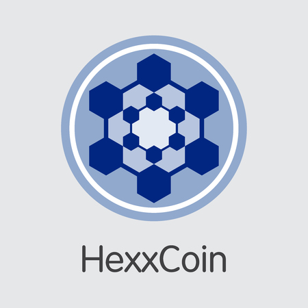 Hexxcoin Digital Currency. Vector HXX Coin Pictogram. Illustration