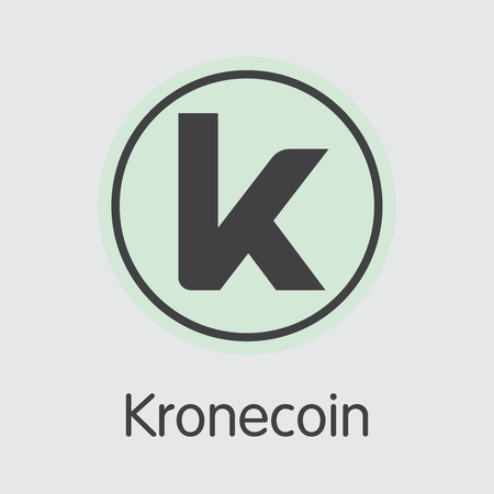 Kronecoin Cryptographic Currency. Vector KRONE Coin Image. Illustration