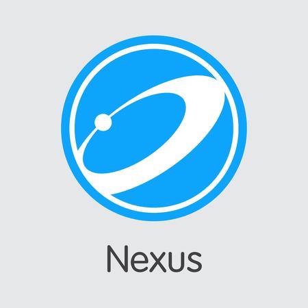 Nexus Finance. Blockchain Cryptocurrency-벡터 거래 사인. 현대 컴퓨터 네트워크 기술 기호 아이콘입니다. 일러스트
