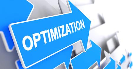 Optimization - Text on Blue Arrow. 3D.