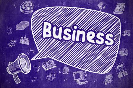 Business - Hand Drawn Illustration on Blue Chalkboard.