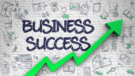Business Success Drawn on White Brick Wall. Stock Photo
