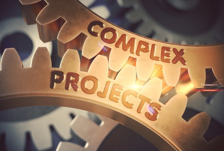 Golden Gears with Complex Projects Concept. 3D Illustration. Archivio Fotografico