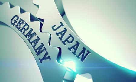 Japan Germany - Mechanism of Shiny Metal Cog Gears . 3D . Standard-Bild
