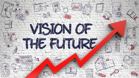 Vision Of The Future Drawn on Brick Wall.