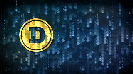 Dogecoin - Icon on Digital Background.