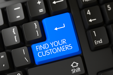 Keyboard with Blue Key - Find Your Customers. 3d