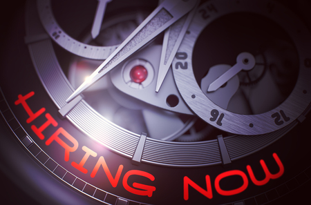 Hiring Now on the Automatic Men Watch Mechanism. 3D. Standard-Bild