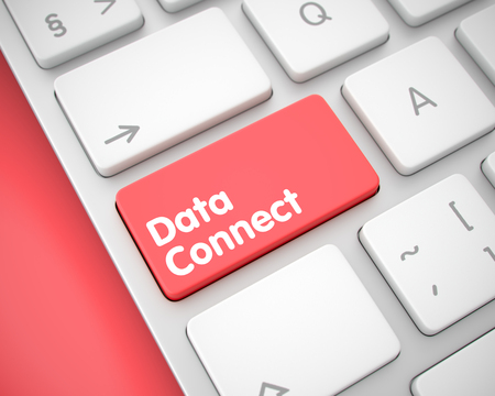 Data Connect - Message on Red Keyboard Keypad. 3D.