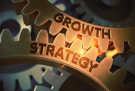 Golden Gears with Growth Strategy Concept. 3D Illustration.