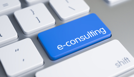E-Consulting - Caption on the Blue Keyboard Key. 3D. Standard-Bild