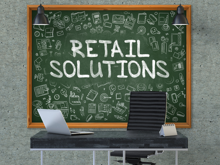 Retail Solutions Concept. Chalkboard on the Office Wall. 3d