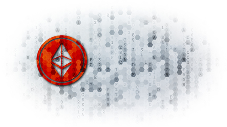 Ethereum - Coin Pictogram on Dark Digital Background.