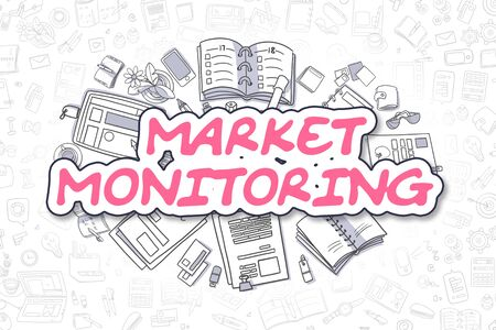 Market Monitoring - Doodle Magenta Text. Business Concept.