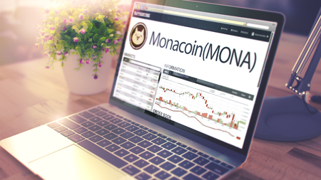 Web Site of a Cryptocurrency Market with Dynamics of the Cost Change of Monacoin - MONA on the Ultrabook Screen. Toned, Selective Focus. 3D .
