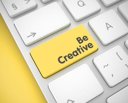 Be Creative - Text on the Yellow Keyboard Button. 3D.