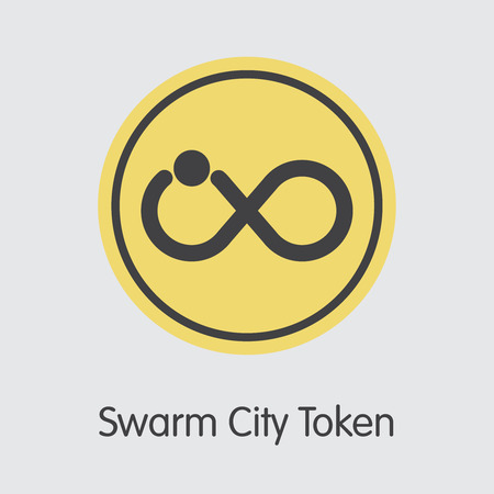 Swarm City Token Cryptocurrency Coin. Vector Element of SWT.