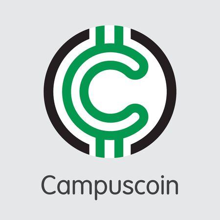 Campuscoin Virtual Currency - Vector circular Pictogram Symbol. Illustration