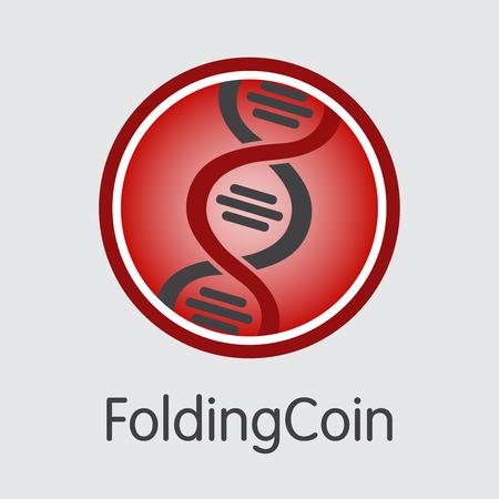 Foldingcoin Digital Currency Coin. Vector Pictogram of FLDC. Illustration