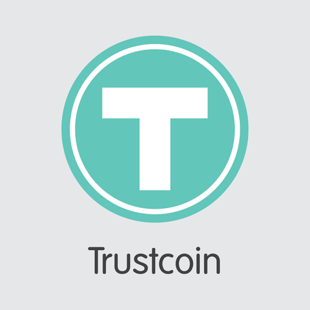 Trust coin Blockchain Cryptocurrency. Vector TRST Web Icon. Illustration