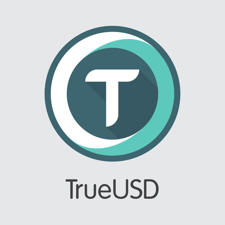 Digital Currency Trueusd. Net Banking and TUSD Mining Vector Concept. Virtual Currency Mining Finance Icon. 向量圖像