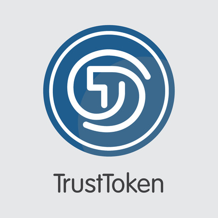 Trusttoken - Crypto Currency Symbol. Vector Trading Sign of Cryptographic Currency Icon on Grey Background. Illustration