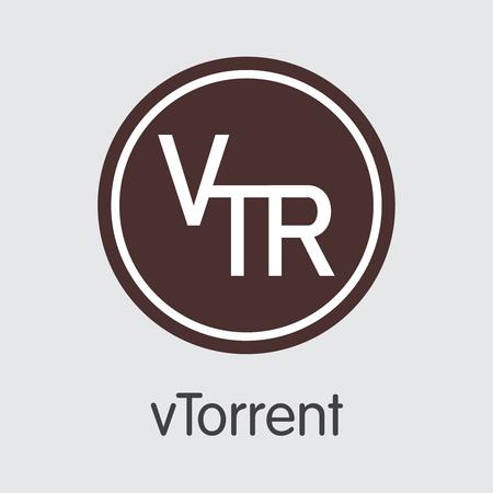 Vtorrent Finance. Blockchain Cryptocurrency - Vector Coin Illustration. Modern Computer Network Technology Pictogram.