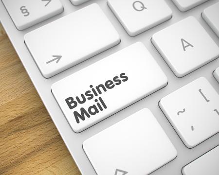 Business Mail - Inscription on White Keyboard Keypad. 3D.