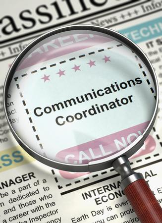 Communications Coordinator Job Vacancy. 3D. Standard-Bild