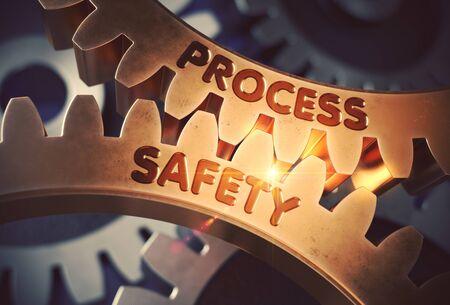 Process Safety on Golden Cogwheels. 3D Illustration. Standard-Bild