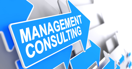 Management Consulting - Inscription on the Blue Cursor. 3D.