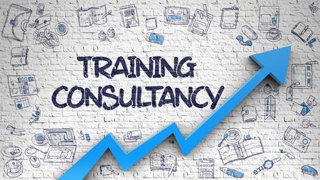 Training Consultancy Drawn on White Brickwall. 3d Standard-Bild