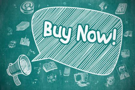 Buy Now - Cartoon Illustration on Blue Chalkboard.